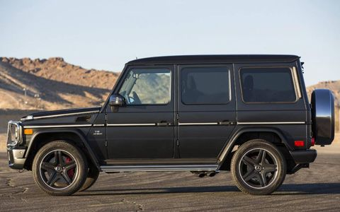 The supercharged 5.5-liter V8 produces a really aggressive exhaust note in the 2013 Mercedes-Benz G63 AMG.