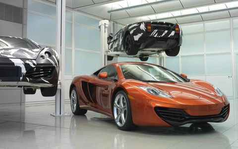 The McLaren MP4-12C show with development mules.