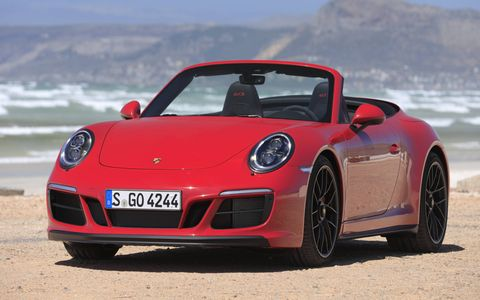 A turbocharged 3.0-liter H6 making 450 hp and 405 lb-ft of torque powers the 2017 Porsche 911 Carrera GTS.
