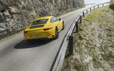 The 2018 Carrera T is a lighter-weight version of the basic coupe, weighing in at just 3,174 pounds, good for a 4.3-second sprint to 60 mph with a manual, four seconds flat with the PDK.