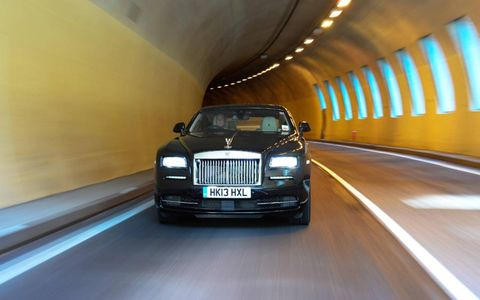 The 2014 Rolls-Royce Wraith coupe on the roads of Austria.