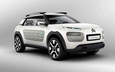 The Citroën Cactus concept car's doors are covered with Airbumps -- a feature to prevent door dings.