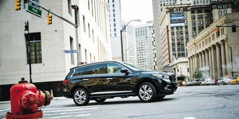 The 2013 Infiniti JX35 on the streets of Detroit.