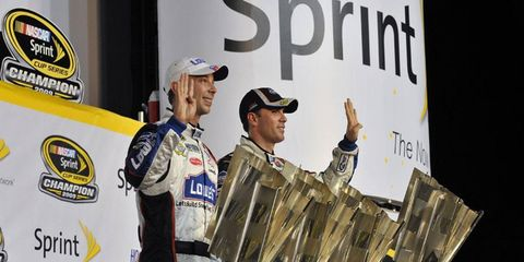Team owner Rick Hendrick has signed Chad Knaus, left, to a contract that runs through 2015. Knaus and driver Jimmie Johnson, right, have won four Sprint Cup championships in a row.