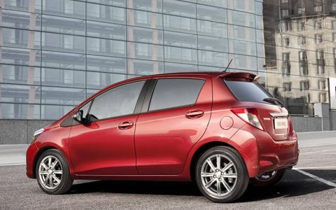 A rear shot of the new Toyota Yaris debuted in Frankfurt