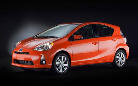 A front view of the 2012 Toyota Prius c.