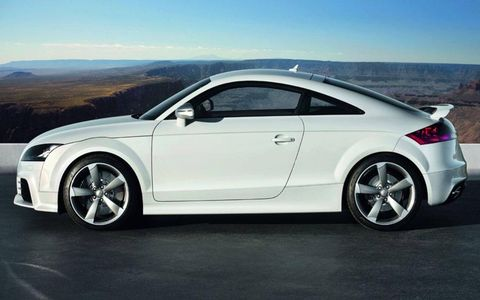 The RS is the performance  version of the TT coupe, with a 360-hp, 2.5-liter TSFI turbo five-cylinder engine powering all four wheels through Audi's quattro drive system