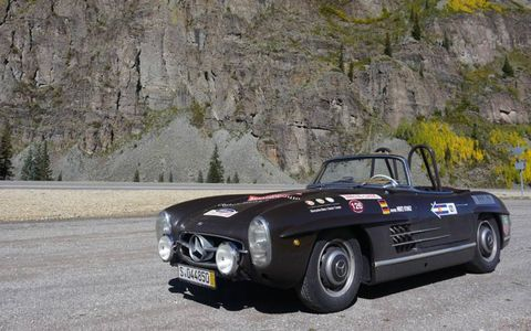 This particular Mercedes-Benz 300SL Roadster is equipped with an iron block engine and disk brakes all around -- the ideal balance between performance and safety.