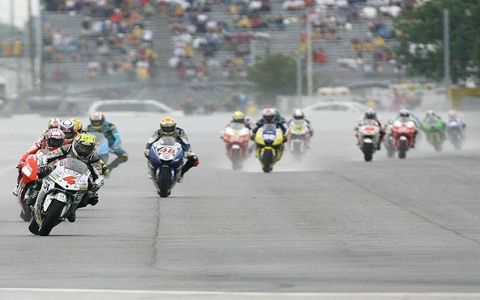 James Toseland Tech 3 Yamaha leads team mate Colin Edwards ans Shinya Nakano.