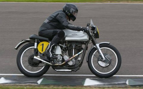 A 1953 Norton FAN Manx was one of several historic motorcycles competing at the Goodwood Revival.