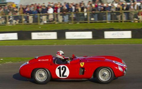 Indy 500 winner Danny Sullivan piloting a 1956 Ferrari 860 Monza.