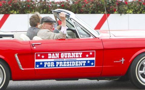 "Dan Gurney was the special guest at this year's Revival and was driven around the track by Lord March himself. Goodwood organizers rejuvinated the ""Dan Gurney for President"" campaign, which was first started in 1964."