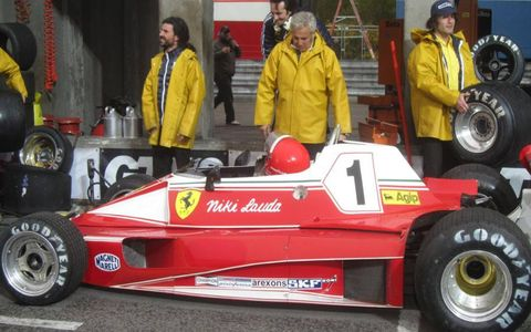 "The Ferrari pit on the set of ""Rush."""