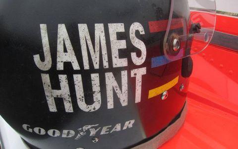 "James Hunt's helmet from the set of ""Rush."""