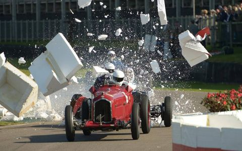 No one was hurt in this crash during the Goodwood Trophy race at the Goodwood Revival.
