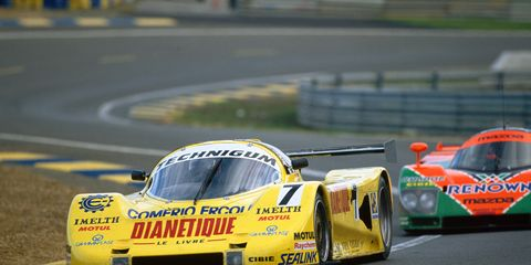 The Dianetique car at the 1991 24 Hours of Le Mans. It made it 16 laps before a gearbox failure took it out of the race.