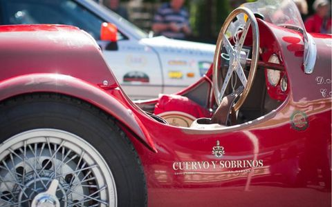 The curvaceous cabin of a 1951 Ermini Sport Siluro adorned with the logo of Swiss watch company Cuervo Y Sobrinos title sponsor andd co-organizer of the Summer Marathon Rally.