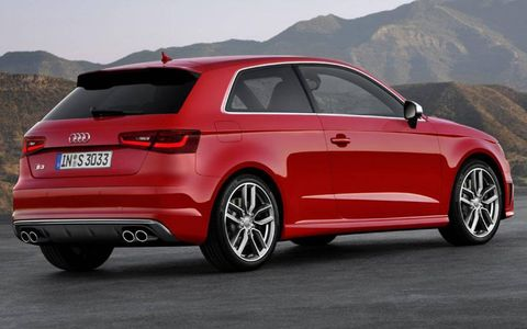 A rear view of the Audi S3.
