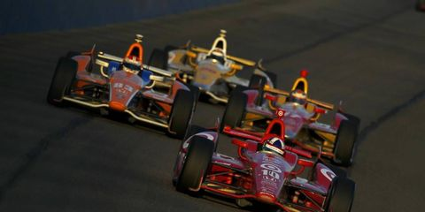 2012 IndyCar Fontana: Dario Franchitti leads Charlie Kimball, Sebastian Saavedra and Ryan Hunter-Reay.