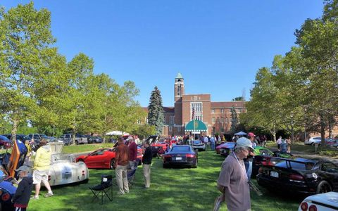 A collection of vintage and contemporary supercars greet early arrivals to the 2012 Glenmoor Gathering in Canton, Ohio.