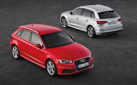 Front and rear views of the Audi A3 Sportback.