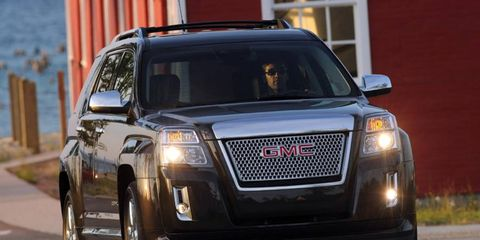 The 2013 GMC Terrain  Denali is equipped with a 301 hp 3.6-liter V6 engine.