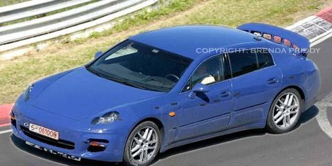 Though the Panamera takes over design elements from the 911 range, there will obviously be huge differences. While the 911 has always kept its rear-mounted boxer engine, the Panamera will have a choice of three front-mounted motors, although they'll be set back to the center of the car as much as possible.The entry-level powerplant will be Volkswagen's 3.5-liter six-cylinder engine with 300 bhp. Next up will be two direct-injection eight-cylinder engines, available as naturally-aspirated (350 bhp) and with twin-turbo (560 bhp). Porsche is also toying with the idea of using the Porsche GT's 700-bhp ten-cylinder powerplant.