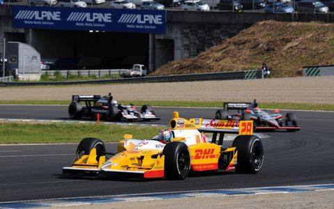 Twin Ring Motegi, Japan: Ryan Hunter-Reay leads J.R. Hildebrand and Mike Conway.