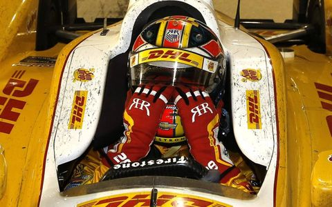 Emotional moment // Ryan Hunter-Reay takes stock after claiming the Izod IndyCar series championship title in Fontana, Calif.
