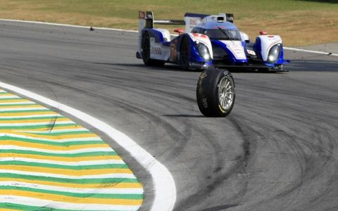 Anybody missing a wheel? // Despite the lost wheel on the track, Alexander Wurz and Nicolas Lapierre managed to drive the Toyota Racing Toyota TS 030 Hybrid to victory at the 6 Hours of Sao Paulo.