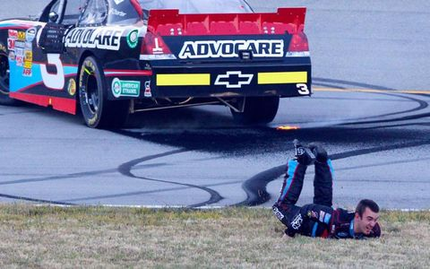 Austin Dillon completes a victory slide after winning the Nationwide race at Kentucky on Saturday.