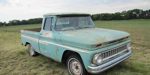 This 1963 Chevrolet Fleetside truck is very complete, and should be relatively easy to restore.