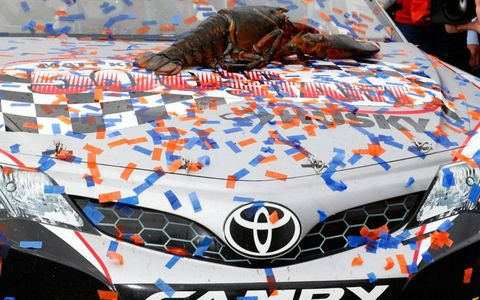 Matt Kenseth's winning car and a lobster in victory lane at New Hampshire on Sunday.