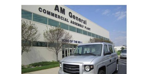 An MV-1 outside the AM General manufacturing plant in Indiana