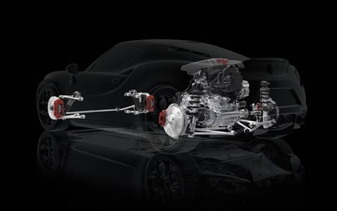 Ghost view of the Alfa Romeo 4C suspension system