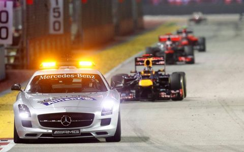 Sebastian Vettel trails the Safety Car at Singapore on Sunday.