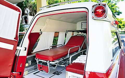 Patients would ride in the back of this 1971 S&S Medic I Cadillac Ambulance.