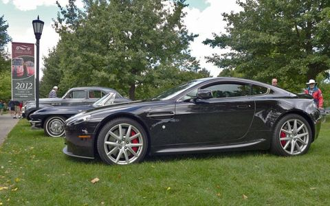 An Aston Martin DB9 caps off a row of classics at the 2012 Grosse Pointe Concours d'Elegance.