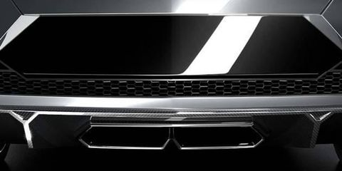 A peek at Lamborghini's concept sedan for the Paris motor show.
