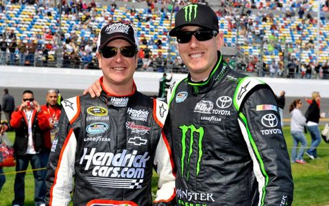 Brothers Kurt and Kyle Busch share a lighter moment earlier this year at Daytona in 2012.