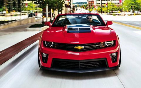 A front  view of the Camaro ZL1 convertible.