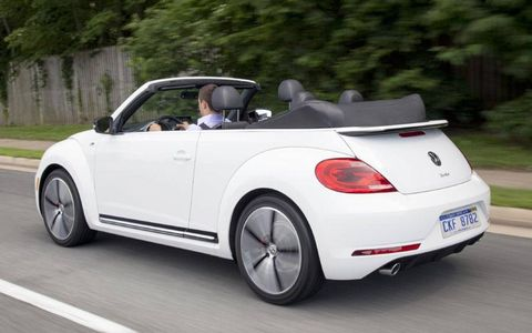 The 2013 Volkswagen Beetle Turbo Convertible has an EPA highway fuel economy of 30 mpg, and a combined fuel economy of 24 mpg. Here at AutoWeek we got about 24.8 mpg.