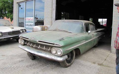 This 1959 Chevrolet Bel Air sedan has been stored inside, but does not run.