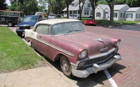 This 1956 Chevrolet Bel Air sedan is one of the less-patinated cars in the sale, and should be easy to get running.