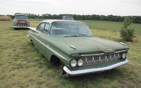 On the opposite side of the preservation spectrum, though not at the very end of that spectrum, rests this 1959 Chevrolet Bel Air sedan.