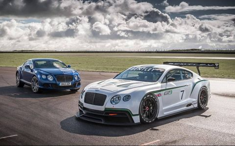 The Bentley Continental GT3 concept is based on the recently unveiled Continental GT Speed shown on the left.