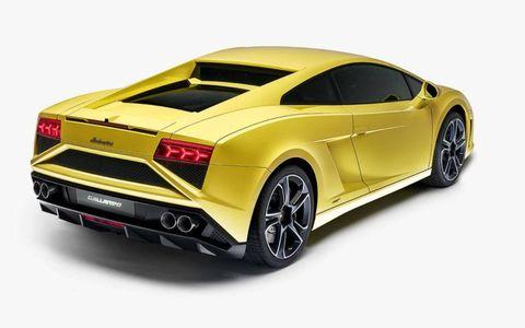 A rear three-quarter view of the 2013 Lamborghini Gallardo LP-560-4 that was at the Paris motor show.
