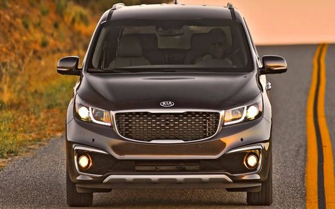 """Under that """"muscular face and clean, smooth look,"""" says Kia, is the 3.3-liter V6 from the Sorento and the Cadenza."""