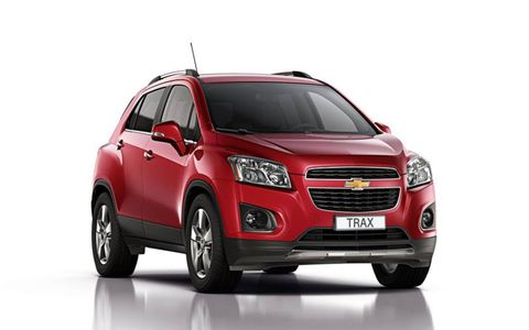 A front view of the Chevrolet Trax before the Paris auto show.