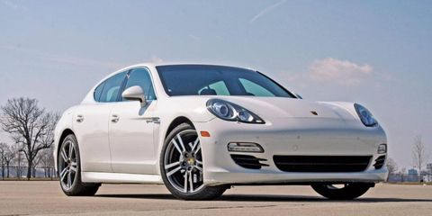 A low view of the 2012 Porsche Panamera S Hybrid.